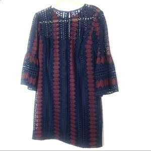 Trina Turk crochet bell sleeve dress